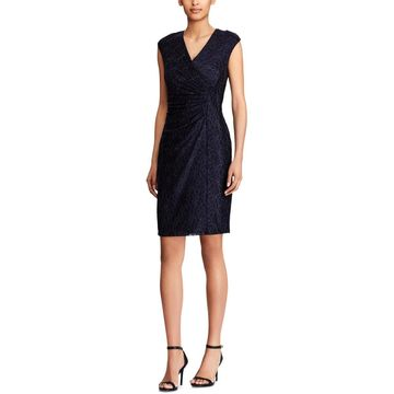 American Living Womens Cocktail Dress Metallic Lace