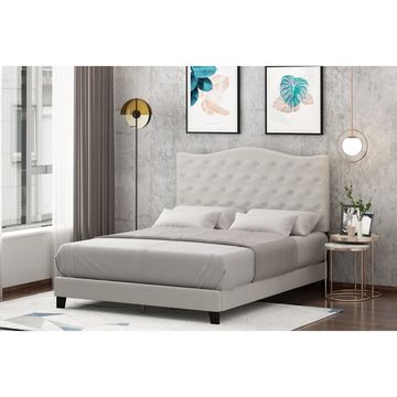 Furinno Abbyson Button Tufted Bed Frame, Linen