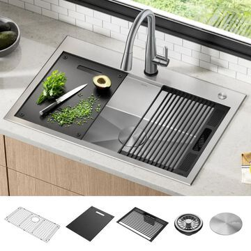 DELTA Rivet Drop-In 33-in x 22-in Stainless Steel Single Bowl 2-Hole Workstation Kitchen Sink with Drainboard | 95A931-33S-SS