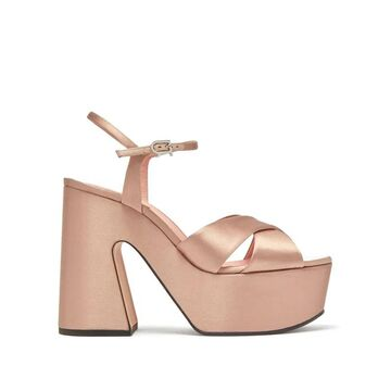 Rochas - Satin Platform Sandals - Womens - Nude