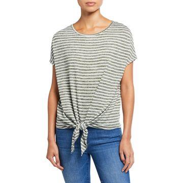Striped Scoop-Neck Short-Sleeve Tie-Front Top