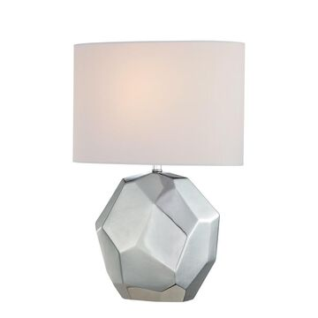 Lite Source Piera 20.25-in Chrome Table Lamp with Fabric Shade