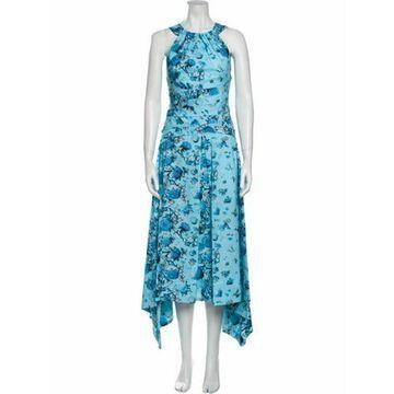 Floral Print Long Dress Blue