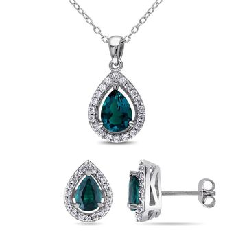 Miadora Silver Created Emerald and Sapphire Set of Necklace and Earrings - Green