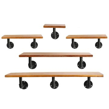 UTC27745: Wood Rectangle Wall Hanging Shelf with Black Bottom Pipe Hangers Set of 5 Natural Finish Brown - N/A
