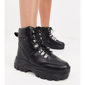 Truffle Collection wide fit chunky hiker boots-Black