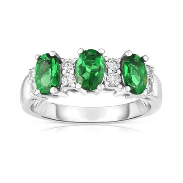 Noray Designs 14K White Gold Oval Emerald & Diamond (1/4 Ct, G-H Color, SI2-I1 Clarity) Ring
