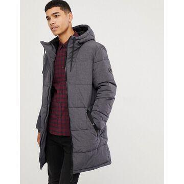 Esprit puffer coat in gray melange with hood