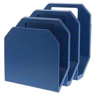 "Bostitch Konnect Plastic 3-Piece File Organizer, Stackable, 7.3"" W, Blue (KT-3FOLDER-BLUE)"