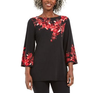 Placed-Print Boat-Neck Top, Created For Macy's