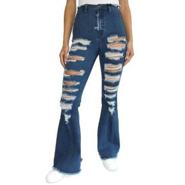 Almost Famous Juniors' Distressed Super-High-Rise Flare Jeans