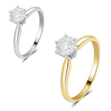 Divina 14K gold 1/4ct TDW Diamond Solitaire Engagement Ring comes in a box. I2)