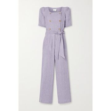 Lisa Marie Fernandez - Diana Belted Double-breasted Organic Linen-blend Gauze Jumpsuit - Lavender