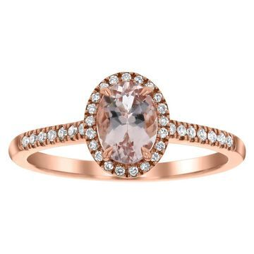 14k Rose Gold Diamonds and Oval Morganite Halo Ring by Beverly Hills Charm (9)