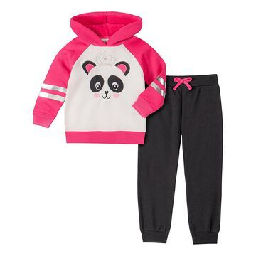Kids Headquarters Girls' Casual Pants ASSORTED - Pink Panda Princess Football Hooded Pullover & Black Joggers - Infant & Toddler