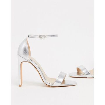 Glamorous barely there sandals with set back heel in silver croc