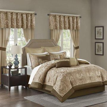 Home Essence Isabella Jacquard 24 Piece Room in a Bag, Brown, King