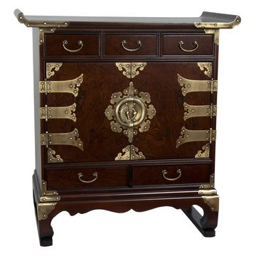 Oriental Furniture Korean 5 Drawer End Table