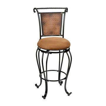 Hillsdale Furniture Milan Black/Copper Accent Counter height (22-in to 26-in) Upholstered Swivel Bar Stool in Brown | 4527-827