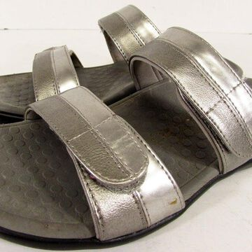 $110 Vionic Womens Shore Orthaheel Dual Strap Slide Sandal Shoes, Pewter, US 5
