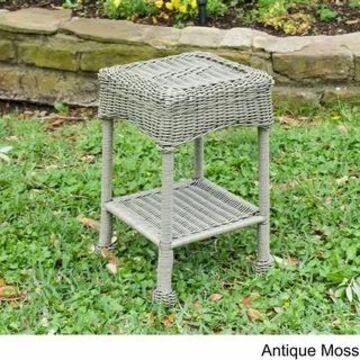 International Caravan Chelsea Resin Wicker Side Table (Antique Moss)