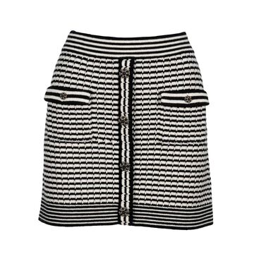 Self Portrait Monochrome Melange Knit Skirt