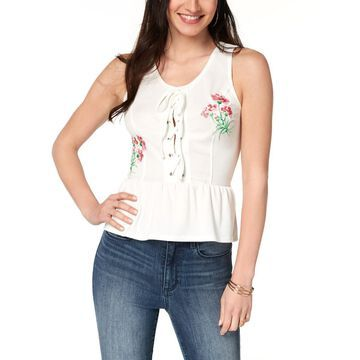 XOXO Womens Juniors Casual Lace-Up Peplum Top