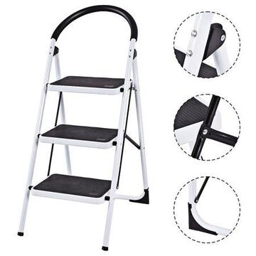 Goplus 3 Step Ladder Folding Stool Heavy Duty 330Lbs Capacity Industrial Lightweight