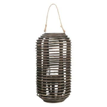 Tall Bamboo Lantern, Spiral Design w/ Candle Holder, Brown, Small , 17