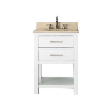 Avanity Brooks 25-in White Single Sink Bathroom Vanity with Beige Natural Marble Top