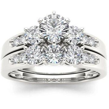 1-3/8 Carat T.W. Diamond Three-Stone 14kt White Gold Engagement Ring Set