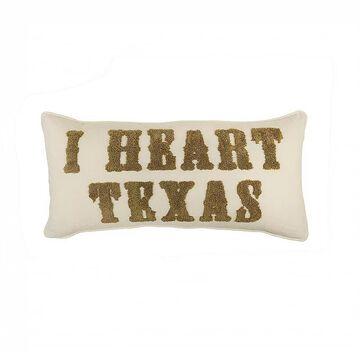 Donna Sharp Texas Heart Throw Pillow, Beig/Green, Fits All