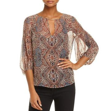 Ella Moss Womens Silk Tapestry Blouse