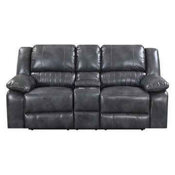 Pemberly Row Jackson Gray Dual Reclining Loveseat w/ Faux Leather Upho