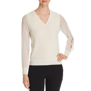 Elie Tahari Womens Maria Silk Merino Wool V-Neck Sweater
