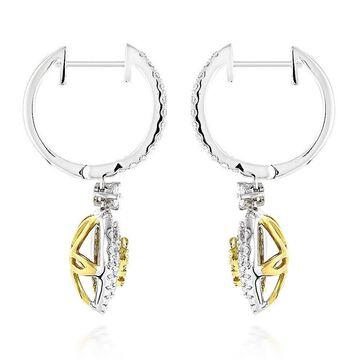 Luxurman 14k Gold 1 3/8ctw White and Yellow Diamond Heart Hoop Dangle Earrings