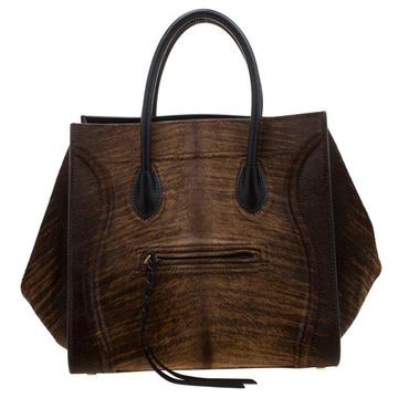 Celine Brown Calfhair and Leather Phantom Luggage Tote