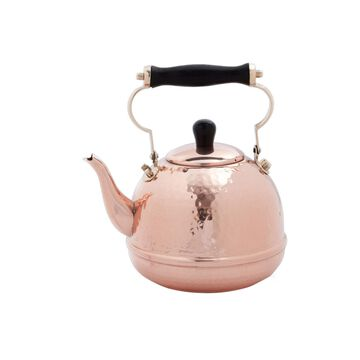 Old Dutch International Hammered Solid Copper Tea Kettle with Wood Handle, 2-Quart