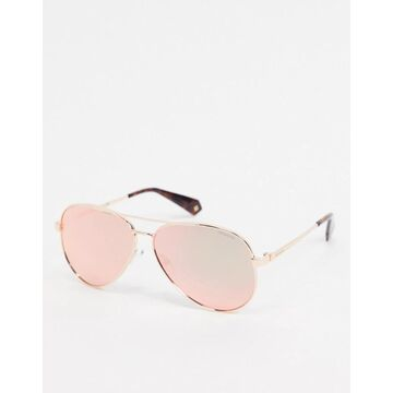 Polaroid X Love Island aviator sunglasses in gold with pink lens