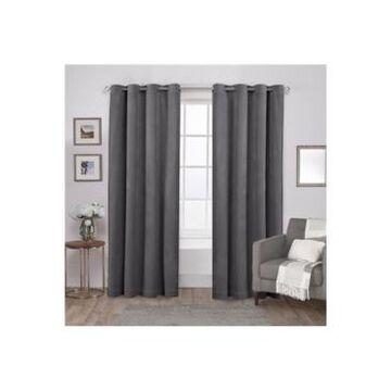 Exclusive Home Velvet Heavyweight Grommet Top Curtain Panel Pair, 54