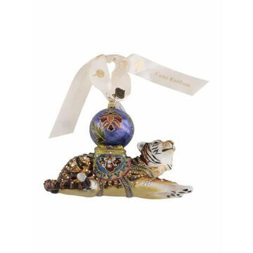 Tiger With Saltana Ball Ornament w/ Tags Blue