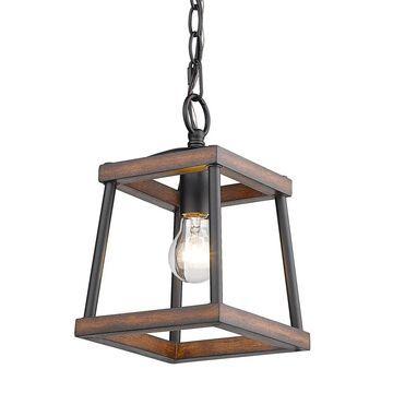 Golden Lighting Teagan Natural Black Farmhouse Lantern Medium (10-22-in) Pendant Light   3184-M1L NB-RO