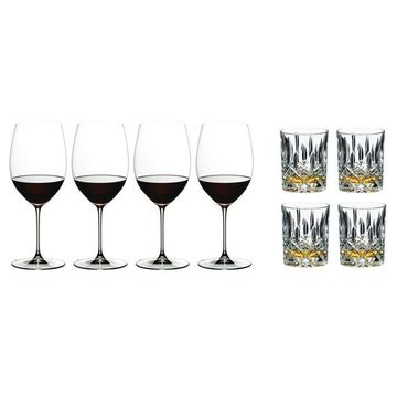 Riedel 4 Veritas Cabernet Glasses and 4 Tumbler Collection Spey Whisky