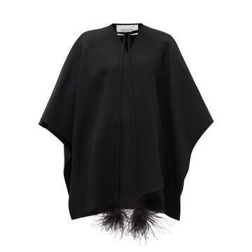 Valentino - Feather-tassel Wool Cape - Womens - Black