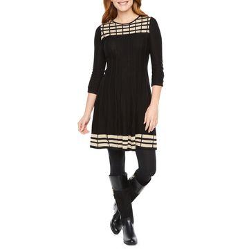 Jessica Howard 3/4 Sleeve Sweater Dress
