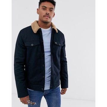 Farah Vadher fleece collar jacket in navy