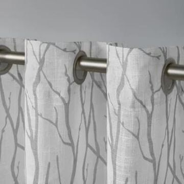 ATI Home Oakdale Textured Linen Sheer Grommet Top Curtain Panel Pair (Silver - 108 Inches - 54X108)