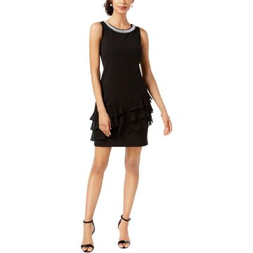 Connected Apparel Womens Embellished Sleeveless Cocktail Dress