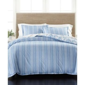 Martha Stewart Collection Percale Stripe Reversible Full/Queen 3-Pc. Comforter Set, Created for Macy's