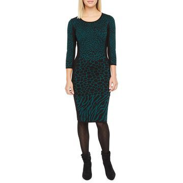 Danny & Nicole 3/4 Sleeve Animal Print Sweater Dress